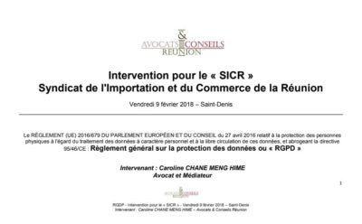 Intervention pour le « SICR »  Syndicat de l'Importation et du Commerce de la Réunion